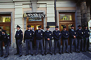 Police protect a McDonalds restuarant. Anti Globalisation riots Prague, Czech Republic