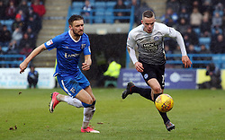 Joe Ward of Peterborough United in action with Luke O'Neill of Gillingham - Mandatory by-line: Joe Dent/JMP - 10/02/2018 - FOOTBALL - MEMS Priestfield Stadium - Gillingham, England - Gillingham v Peterborough United - Sky Bet League One