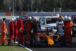 March 6, 2018 - Barcelona, Catalonia, Spain - March 6th, 2018 - Circuit de Barcelona-Catalunya, Montmelo, Spain - Formula One preseason 2018; Stoffel Vandoorne of Team McLaren-Honda, McLaren MCL33 out of the car after failure of engine. (Credit Image: © Eric Alonso via ZUMA Wire)