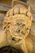 Baroque mopors head sculptures of the palace of  Beneventano, Sicili, Sicily