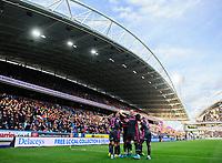 Leeds United's Pablo Hernandez celebrates scoring his side's second goal with team-mates<br /> <br /> Photographer Chris Vaughan - CameraSport<br /> <br /> The EFL Sky Bet Championship - Huddersfield Town v Leeds United - Saturday 7th December 2019 - John Smith's Stadium - Huddersfield<br /> <br /> World Copyright © 2019 CameraSport. All rights reserved. 43 Linden Ave. Countesthorpe. Leicester. England. LE8 5PG - Tel: +44 (0) 116 277 4147 - admin@camerasport.com - www.camerasport.com