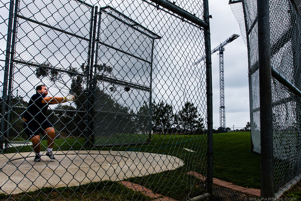 Sophomore Fred Cook practices the hammer throw at UC San Diego on May 9, 2008. Cook placed third in the hammer throw at the 2008 CCAA championship with a distance of 50.88 meters.