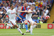Ryan Shawcross, the Stoke City captain ® blocks Connor Wickham of Crystal Palace ©. Barclays Premier League match, Crystal Palace v Stoke City at Selhurst Park in London on Saturday 7th May 2016. pic by John Patrick Fletcher, Andrew Orchard sports photography.