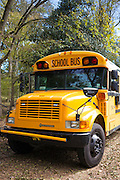 Traditional bright yellow school bus, USA