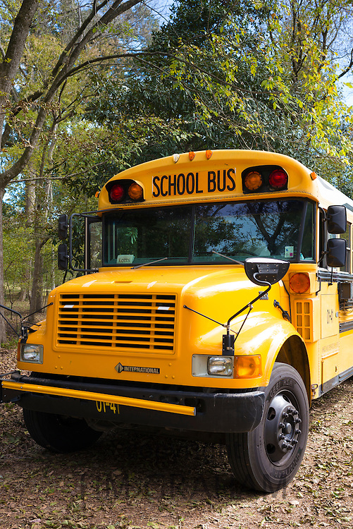 Traditional bright yellow school bus, USA