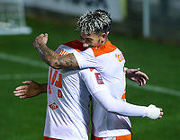 Blackpool's Jordan Lawrence-Gabriel celebrates scoring his side's third goal with Gary Madine<br /> <br /> Photographer Alex Dodd/CameraSport<br /> <br /> FA Cup Second Round - Harrogate Town v Blackpool - Saturday 28th November 2020 - Wetherby Road - Harrogate <br />  <br /> World Copyright © 2020 CameraSport. All rights reserved. 43 Linden Ave. Countesthorpe. Leicester. England. LE8 5PG - Tel: +44 (0) 116 277 4147 - admin@camerasport.com - www.camerasport.com