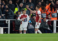Football - 2018 / 2019 UEFA Europa League - Quarter Final, First Leg Arsenal vs. Napoli <br /> <br /> Lucas Torreira (Arsenal FC) celebrates with a memorial t shirt at The Emirates.<br /> <br /> COLORSPORT/DANIEL BEARHAM