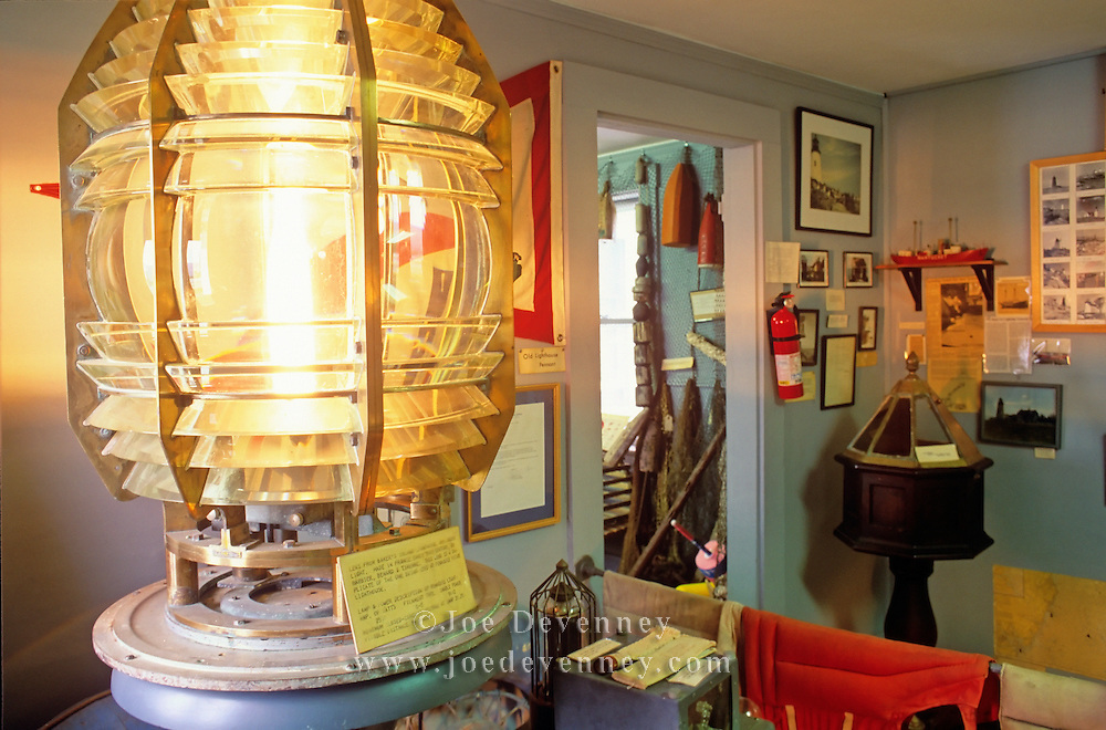 Pemaquid Museum and a fresnel lens from an historic lighthouse. Pemaquid Point. Bristol, Maine