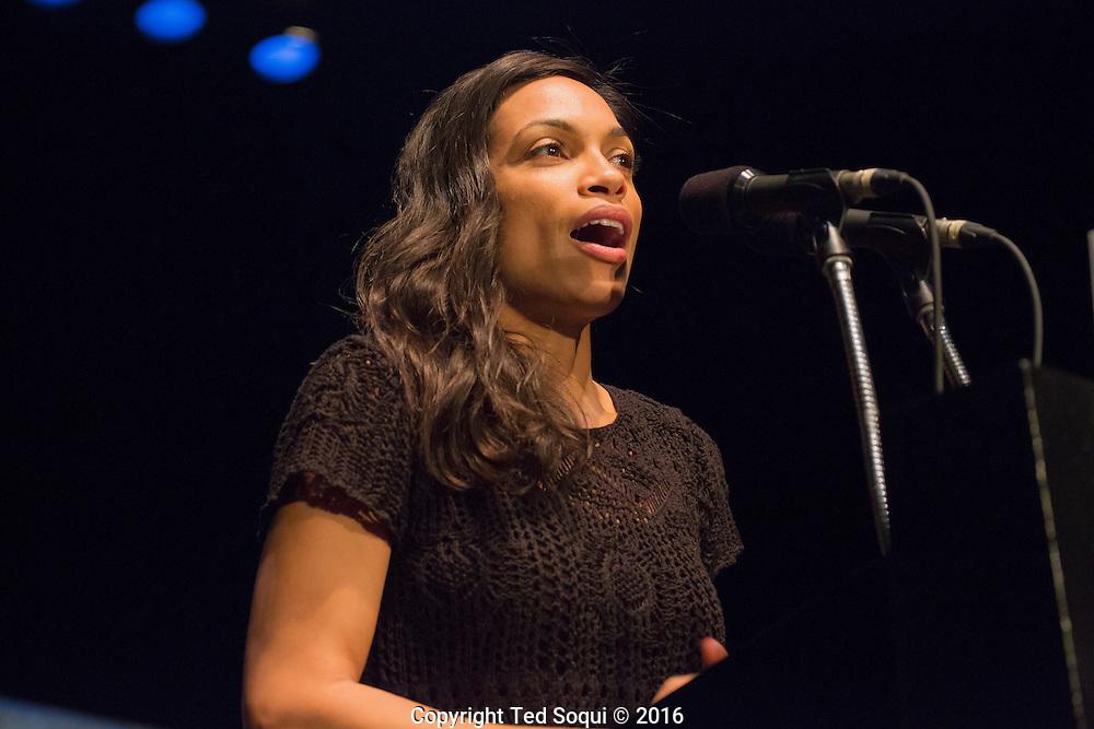 Bernie Sander speaks in Los Angeles at the Wiltern Theatre.<br /> Rosario Dawson.