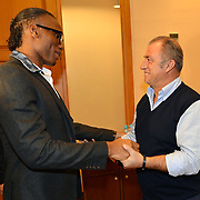 Ivory Coast and former Chelsea striker Didier Drogba Turkish soccer club Galatasaray new player Wesley Sneijder, his arrival at the Florya Metin Oktay Sports Center in Istanbul Turkey on in Istanbul, Turkey, Friday, February 8, 2013. Galatasaray's head coach Fatih Terim with Drogba, 34, has signed a one-and-a-half year contract with Turkey's Galatasaray. Photo by TURKPIX