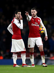 Arsenal's Aaron Ramsey (right) and Arsenal's Henrikh Mkhitaryan discusses tactics during the Premier League match between Arsenal and Everton at Emirates Stadium
