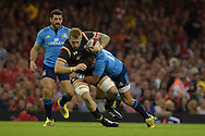 Dominic Day of Wales is tackled by Italy's Giovanbattista Venditti. Wales v Italy, RWC warm up international match at the Millennium Stadium in Cardiff ,South Wales on Saturday 5th Sept  2015. pic by Andrew Orchard, Andrew Orchard sports photography.