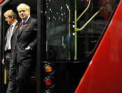 ©London News pictures...11/11/2010. Boris Johnson, London's Mayor, unveils a life size mock up of a new bus for London, today (11/11/10). The mock up gives Londoners the first glimpse of how the bus will look when it is put into service in 2012