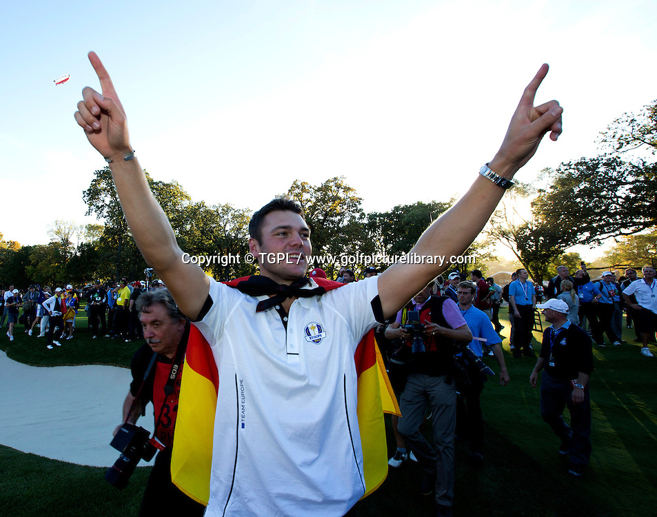 Martin KAYMER (GER) celebrates victory during final day Singles,Ryder Cup Matches,Medinah CC,<br /> Medinah,Illinois,USA.