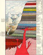 Diagrammatic section of the rocks forming the Earth's crust with particular reference to those found in England. Chromolithograph from 'The New Popular Educator' (London, 1892).