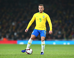 November 16, 2018 - London, England, United Kingdom - London, England - November 16, 2018.Arthur of Brazil .during Chevrolet Brazil Global Tour International Friendly between Brazil and Uruguay at Emirates stadium , Arsenal Football Club, England on 16 Nov 2018. (Credit Image: © Action Foto Sport/NurPhoto via ZUMA Press)
