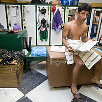 (PPAGE1) Oceanport 5/14/2005  Jockey Rajiv Maragh of Tinton Falls relaxes in the jockey lounge before the opening race.  The horse he rode in the second race placed 4th.    Michael J. Treola Staff Photographer....MJT