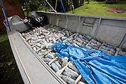 Boat with plastic bottles for floatation, Taveuni, Fiji