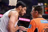 Real Madrid's Gustavo Ayon talking with the referee during semi finals of playoff Liga Endesa match between Real Madrid and Unicaja Malaga at Wizink Center in Madrid, May 31, 2017. Spain.<br /> (ALTERPHOTOS/BorjaB.Hojas)