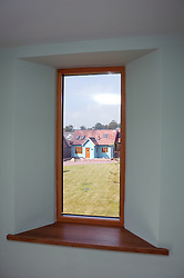 View from inside an Eco House at The Wintles; Bishops Castle, Showing thick; well insulated walls,
