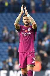 Manchester City's Kyle Walker applauds supporters after the final whistle during the Premier League match at The Hawthorns, West Bromwich.