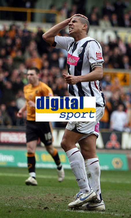 Photo: Rich Eaton.<br /> <br /> Wolverhampton Wanderers v West Bromwich Albion. Coca Cola Championship. 11/03/2007. Anguish for Curtis Davies  the West Brom skipper as he misses a chance late in the second half
