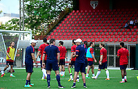 Football Fifa Brazil 2014 World Cup Matchs  / <br /> USA - MEN´S NATIONAL TEAM - BRAZIL TRAINING CAMP -<br /> ( January 2014 - Barra Funda Sao Paulo FC Training Center - Sao Paulo , Brazil ) <br /> Barra Funda Sao Paulo FC Training Center , Jurgen Klinsmann - Coach of Usa (1-R) with his Assistent Staff , Martin Vasquez (L)<br /> and Andreas Herzog (M) Talk with Usa Players during training
