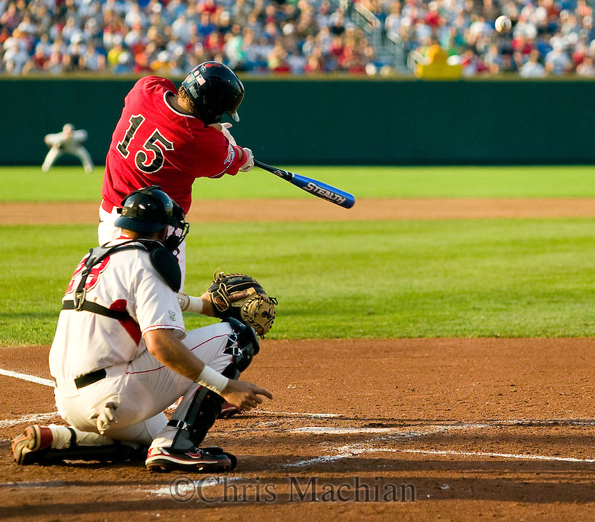 6/25/08 Omaha, NEB Steve Detwiler hits  his first home-run during the second inning  at Rosenblatt Stadium during the College World Series..Bill SitzmannMinorwhite Studios ..Contact person.Chris Machian 402 578 6456