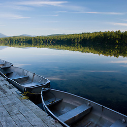Skiffs at the dock at White Lake State Park in Tamworth, New Hampshire.