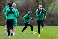 David Gray (#2) of Hibernian FC (right) leads the players in a sprint during the Hibernian training session at Hibernian Training Centre, Ormiston, Scotland on 27 November 2020, ahead of their Betfred Cup match against Dundee.