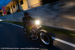 Hideki Saito riding his Harley-Davidson Shovelhead on the SureShot ride around Chiba, Japan. Saturday, December 8, 2018. Photography ©2018 Michael Lichter.