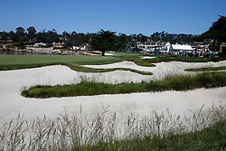 June 11, 2019 - Pebble Beach, CA, U.S. - PEBBLE BEACH, CA - JUNE 11:  A general scenic view of the 18th hole taken during the practice round for the 2019 US Open on June 11, 2019, at Pebble Beach Golf Links in Pebble Beach, CA. (Photo by Brian Spurlock/Icon Sportswire) (Credit Image: © Brian Spurlock/Icon SMI via ZUMA Press)