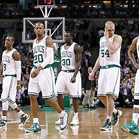 10 May 2012: Boston Celtics point guard Rajon Rondo (9), Boston Celtics shooting guard Ray Allen (20), Boston Celtics power forward Brandon Bass (30), Boston Celtics center Greg Stiemsma (54) and Boston Celtics small forward Paul Pierce (34) are seen during the Boston Celtics 83-80 victory over the Atlanta Hawks, in Game 6 of the Eastern Conference first-round playoff series, at the TD Banknorth Garden, Boston, Massachusetts, USA.