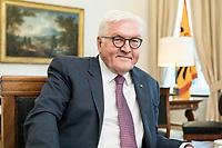 02 JUL 2018, BERLIN/GERMANY:<br /> Frank-Walter Steinmeier, Bundespraesident, waehrend einem Interview, Amtszimmer des Bundespraesidenten, Schloss Bellevue<br /> IMAGE: 20180702-01-061<br /> KEYWORDS: Bundespräsident