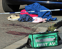 © Licensed to London News Pictures. 19/08/2018<br /> New Eltham, UK. blood covered clothing and medical equipment at the scene of a Hammer attack on two women in New Eltham, south east London. Police are currently searching for 27 year old Joe Xuereb in connection with the attack. <br /> Photo credit: Grant Falvey/LNP