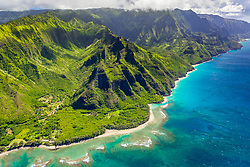 Limahuli Garden and Preserve, along Limahuli Stream, Haena State Park, Coral Reef, Kee Beach and Na Pali Coast, North Shore, Kauai, Hawaii, USA, Pacific Ocean