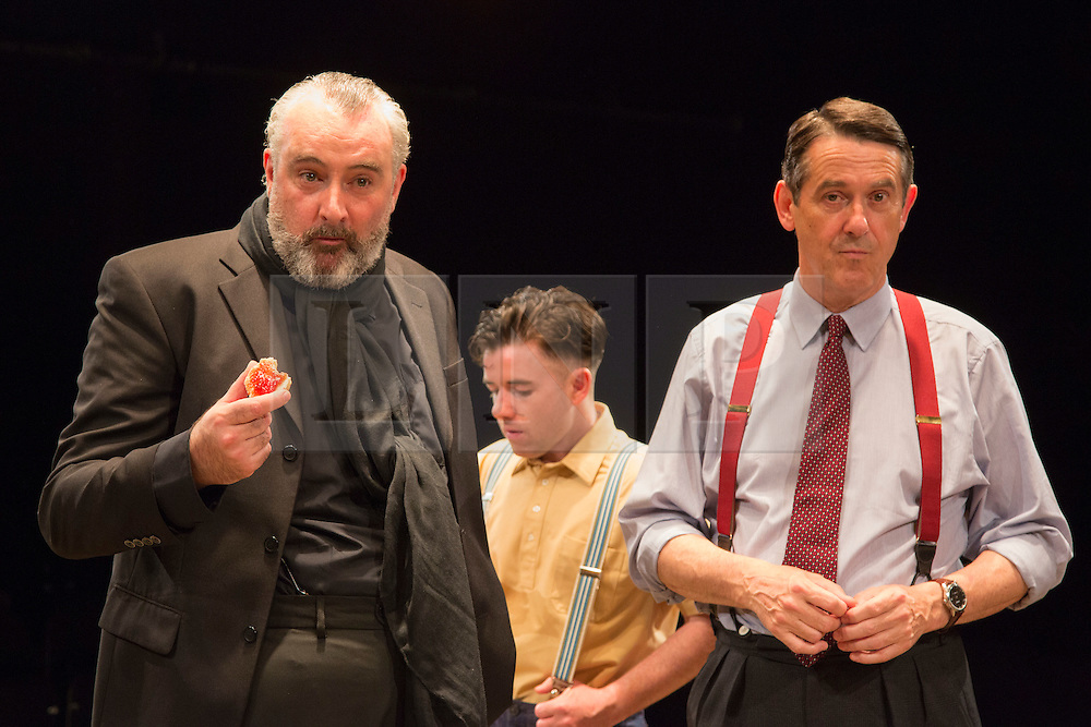 © Licensed to London News Pictures. 01/07/2015. London, UK. L-R: John Hodgkinson as Orson Welles, Ciaran O'Brien as Sean and Adrian Lukis as Laurence Olivier. Photocall for the European Premiere of Orson's Shadow by Austin Pendleton at the Southwark Playhouse. The comedy, based on true events as Orson Wells and Laurence Olivier work together for the first time, runs from 1 to 25 July 2015. Photo credit : Bettina Strenske/LNP