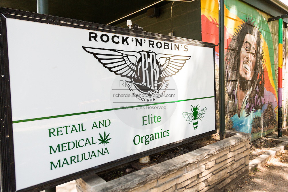A sign advertising legal recreational marijuana sales at a store in Fort Collins, Colorado.