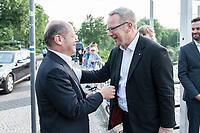 04 JUN 2019, BERLIN/GERMANY:<br /> Olaf Scholz (L), SPD, Bundesfinanzminister, und Johannes Kahrs (R), MdB, SPD, Sprecher Seeheimer Kreis, vor Beginn der Spargelfahrt des Seeheimer Kreises der SPD, Anleger Wannsee<br /> IMAGE: 20190604-01-070