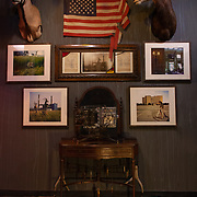 """""""Modern Industry"""" museum installation at ArtisanWorks in Rochester, New York. <br /> Installation includes the """"Modern Industry"""" camera, five """"Modern Industry"""" photographs, camera display mount and artifacts that relate to the subject of """"Modern Industry""""."""
