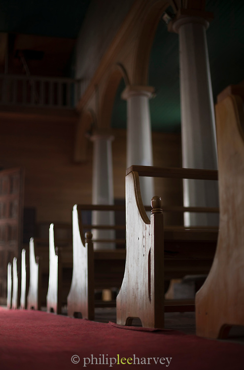 Pews in Church of Vilupulli on Chiloe Island, Chile