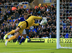 Glenn Morris of Crawley Town dives on the ball as Che Adams of Birmingham City hits the post - Mandatory by-line: Paul Roberts/JMP - 08/08/2017 - FOOTBALL - St Andrew's Stadium - Birmingham, England - Birmingham City v Crawley Town - Carabao Cup