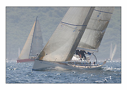 Racing at the Bell Lawrie Yachting Series in Tarbert Loch Fyne. Saturday racing started overcast but lifted throughout the day...Class 1 start, Crackerjack GBR6R,  with Cracklin Rosie heading off right..