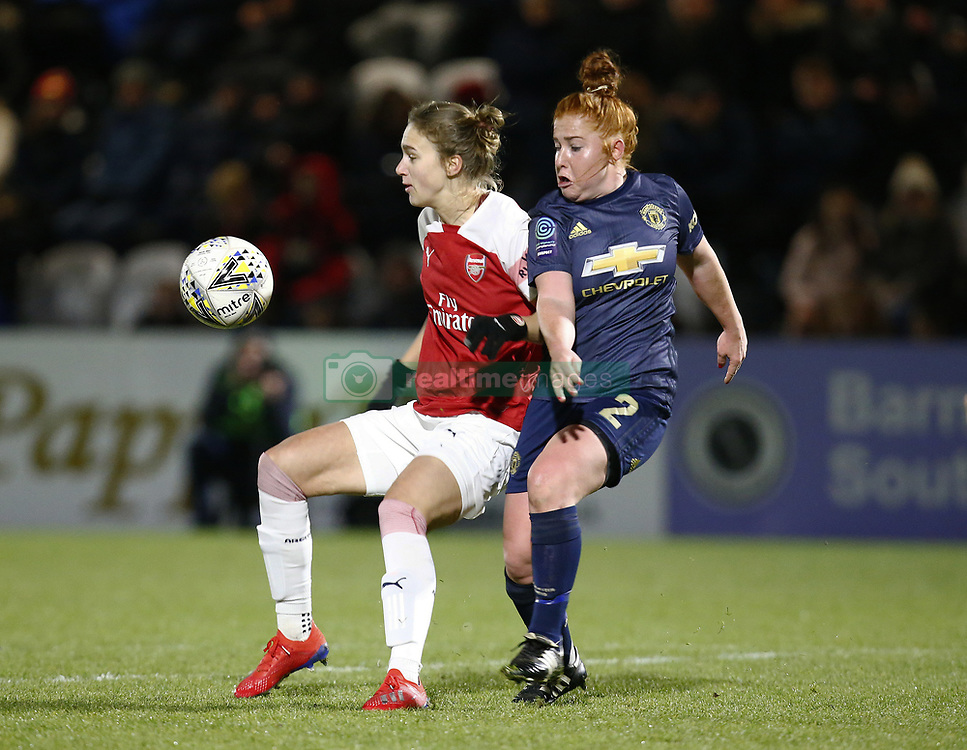 February 7, 2019 - London, England, United Kingdom - L-R Vivianne Miedema of Arsenal  holds of Martha Harris of Manchester United Women .during FA Continental Tyres Cup Semi-Final match between Arsenal and Manchester United Women FC at Boredom Wood on 7 February 2019 in Borehamwood, England, UK. (Credit Image: © Action Foto Sport/NurPhoto via ZUMA Press)