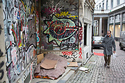 Homeless persons sleeping place in Brussels, Belgium. The Brussels-Capital Region is a region of Belgium comprising 19 municipalities, including the City of Brussels.