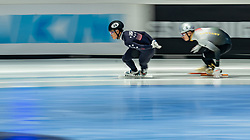 Andrew Heo of USA in action on 1000 meter during ISU World Short Track speed skating Championships on March 05, 2021 in Dordrecht