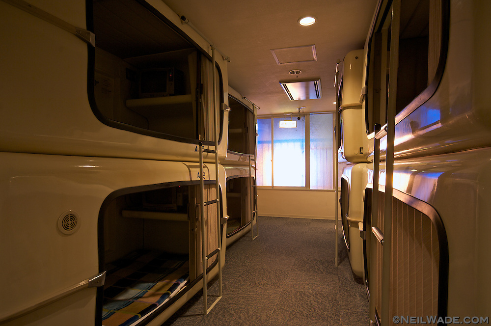 A Japanese capsule hotel in Hiroshima.  One of these luxurious rooms can be rented for about $35 a night.