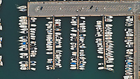Aerial view of colourful  boats parked beautifully in the harbour Puerto Marina, Benalmadena, Spain