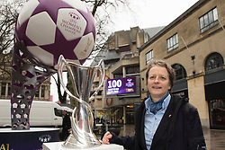 CARDIFF, ENGLAND - Tuesday, February 21, 2017: UEFA Chair of Women's Football Committee Karen Espelund with the Champions League trophy in the Hayes, Cardiff to promote the UEFA Champions League Finals being staged in Cardiff this June. (Pic by Paul Greenwood/Propaganda)