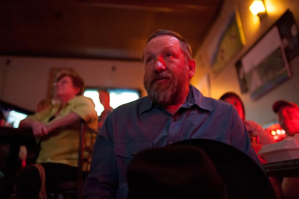 Chuck Allen watching the season premier of Dead End Express.